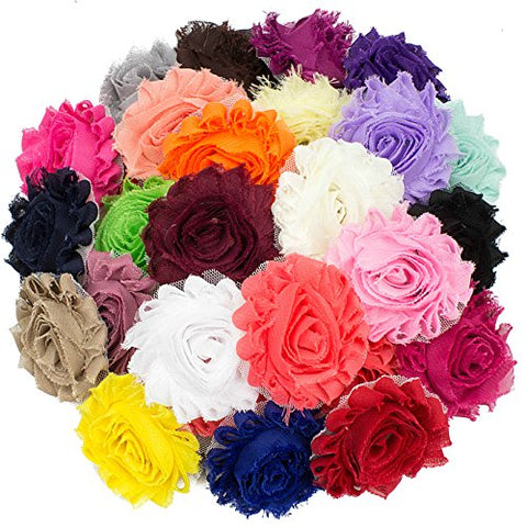 "JLIKA 50 pieces Shabby Flowers - Chiffon Fabric Roses - 2.5"" - Solids Color Mix - Single Flowers Grab Bag"