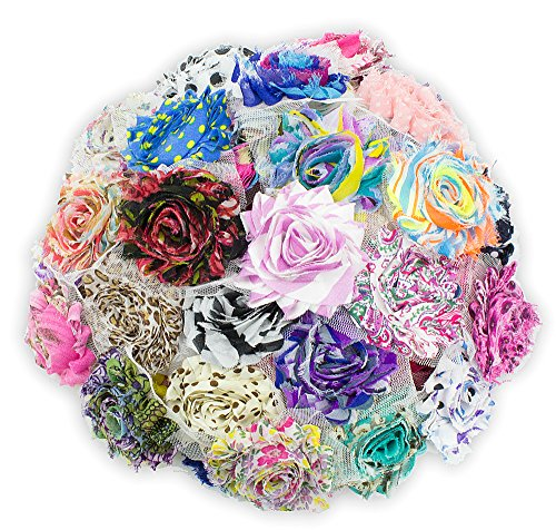 "JLIKA (50 pieces) Shabby Flowers - Chiffon Fabric Roses - 2.5"" - Prints - Assorted Color Mix - Single Flowers Grab Bag"