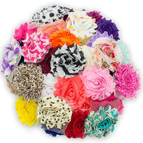 "JLIKA (100 pieces) Shabby Flowers - Chiffon Fabric Roses - 2.5"" - Solids and Prints Included - Assorted Color Mix - Single Flowers Grab Bag"