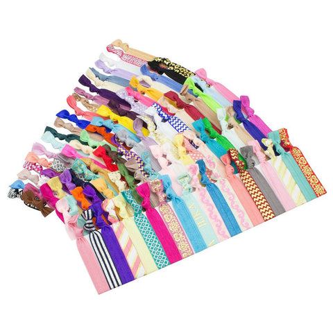 Elastic Hair Ties (SET OF 100) Colorful Prints and Solids 32df2e722d7