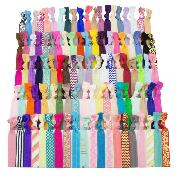 Elastic Hair Ties Set Of 100 Colorful Prints And Solids