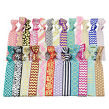 Elastic Hair Ties (SET OF 100) Colorful Prints and Solids, No Crease Ouchless Ponytail Holders, Ribbon Hairties for Women Girls Teens and Kids