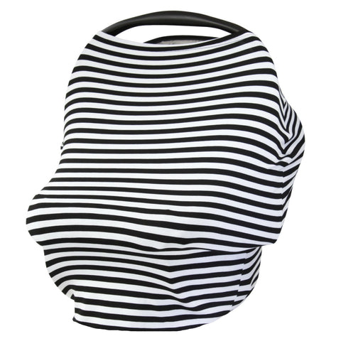 BLACK & WHITE THIN STRIPE - Multi Use Baby Car Seat Canopy and Nursing Cover