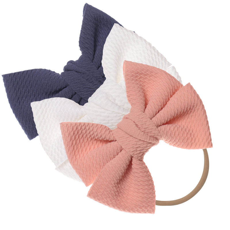 Baby Girl XL Bow Headbands Grey, Pink, Ivory
