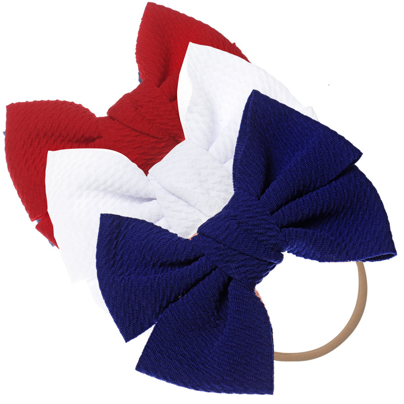 Baby Girl XL Bow Headbands Navy, White, Red