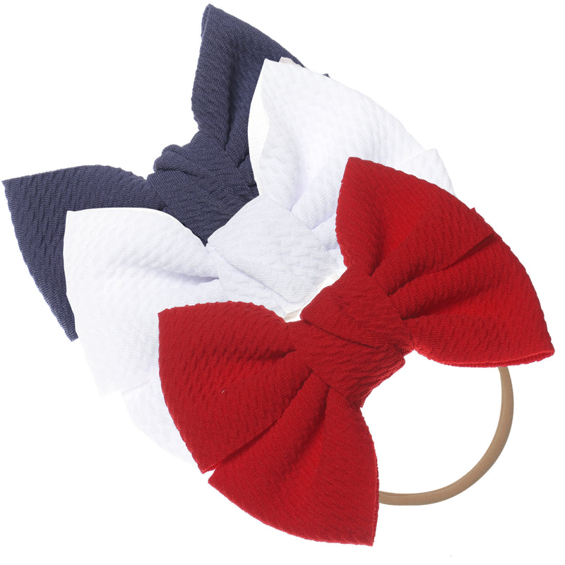 Baby Girl XL Bow Headbands Grey, White, Red