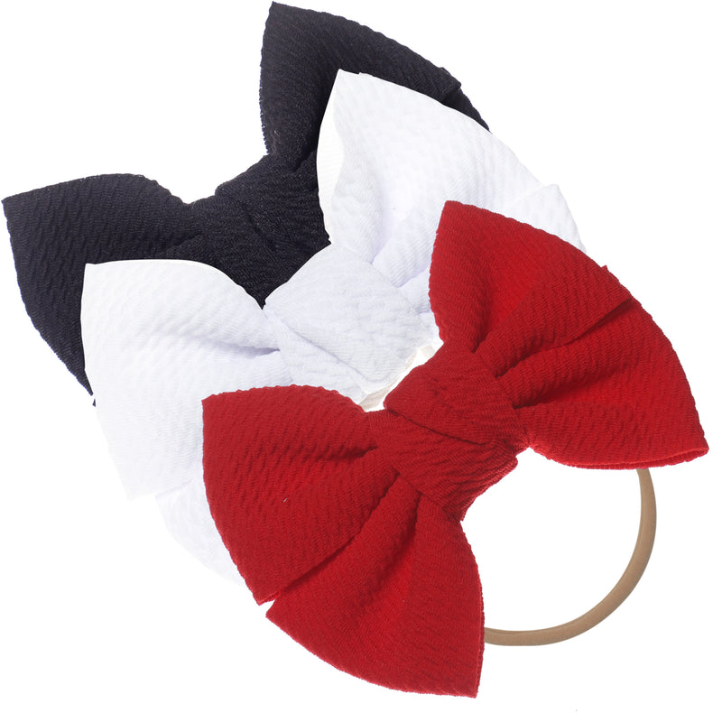 Baby Girl XL Bow Headbands Black, White, Red
