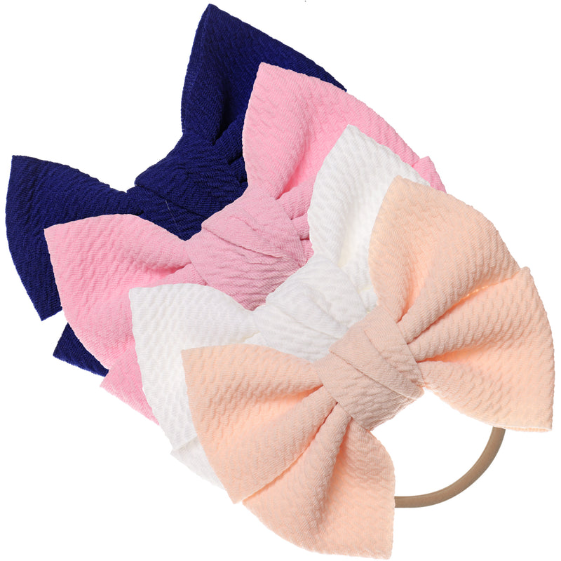 Baby Girl XL Bow Headbands Pink, Navy, Ivory, Peach