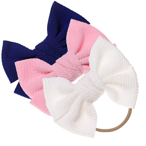 Baby Girl XL Bow Headbands Pink, Navy, Ivory
