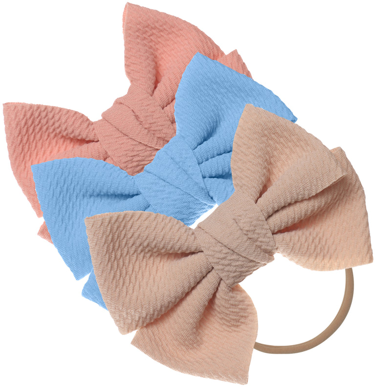 Baby Girl XL Bow Headbands Pink, Blue, Beige
