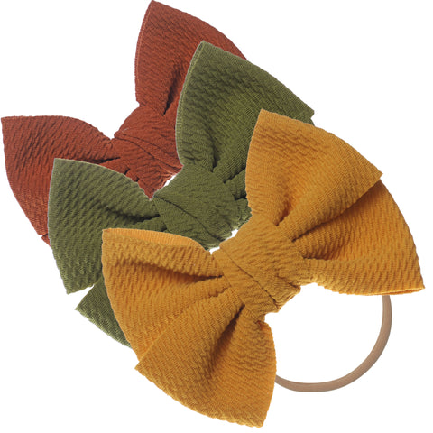 Baby Girl XL Bow Headbands Sienna, Sage, Mustard