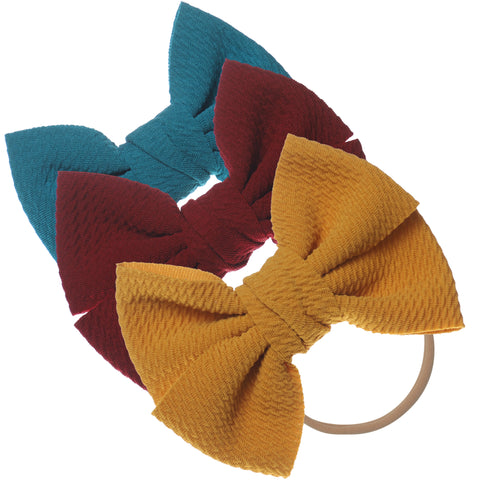 Baby Girl XL Bow Headbands Teal, Burgundy, Mustard