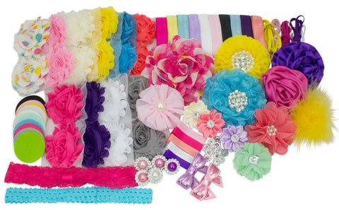 Bright Summer Collection - Fashion Headband Kit - Baby Shower Games Headband Station Party Supplies for DIY Hair Bow Maker - Make 32 Headbands and 5 Clips
