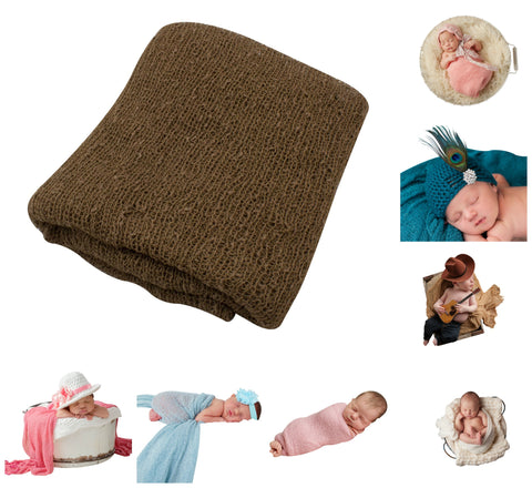 BROWN - Newborn Baby Photography Photo Prop Stretch Wrap