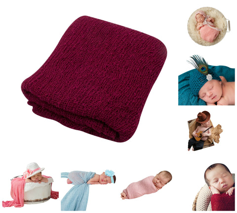 BURGANDY - Newborn Baby Photography Photo Prop Stretch Wrap