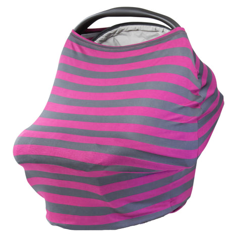 GRAY & CHERRY STRIPE - Multi Use Baby Car Seat Canopy and Nursing Cover