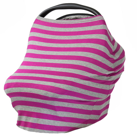 GRAY & FUCHSIA STRIPE - Multi Use Baby Car Seat Canopy and Nursing Cover