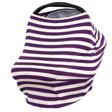 CREAM & GRAPE STRIPE - Multi Use Baby Car Seat Canopy and Nursing Cover