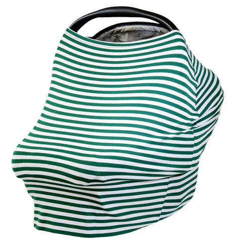 GREEN & WHITE THIN STRIPE - Multi Use Baby Car Seat Canopy and Nursing Cover