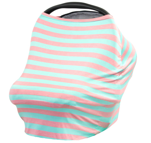 PEACH & AQUA STRIPE - Multi Use Baby Car Seat Canopy and Nursing Cover