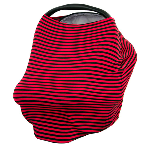 BLACK & RED THIN STRIPE - Multi Use Baby Car Seat Canopy and Nursing Cover