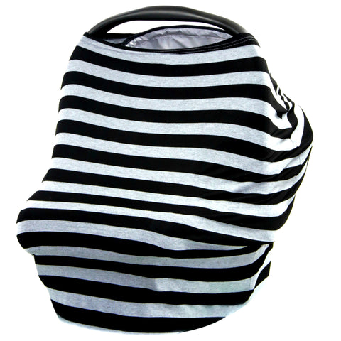 BLACK & GRAY STRIPE - Multi Use Baby Car Seat Canopy and Nursing Cover