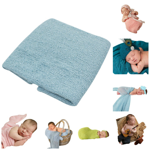 LIGHT BLUE - Newborn Baby Photography Photo Prop Stretch Wrap