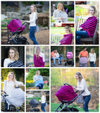 BLACK & MAGENTA STRIPE - Multi Use Baby Car Seat Canopy and Nursing Cover