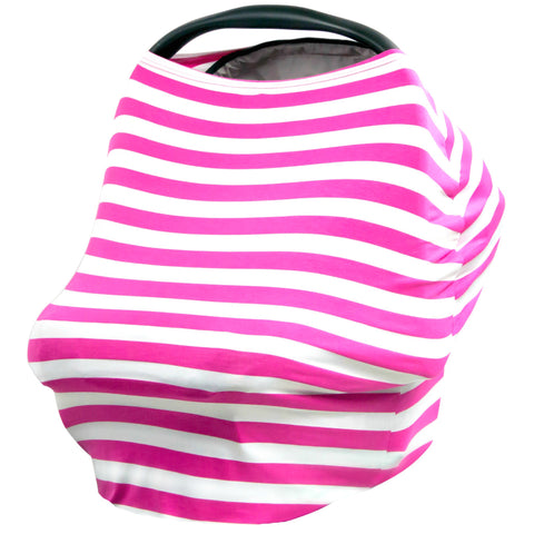 MAGENTA & WHITE STRIPE - Multi Use Baby Car Seat Canopy and Nursing Cover