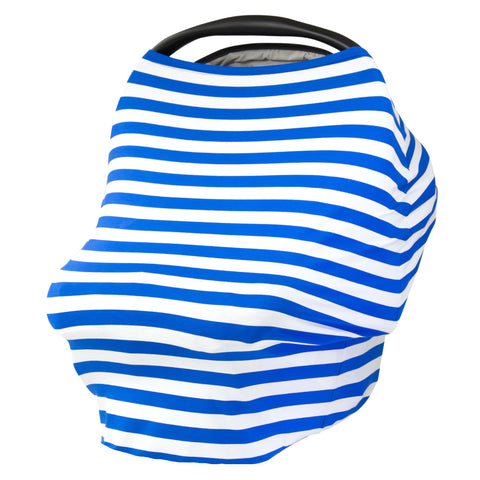 ROYAL & WHITE STRIPE - Multi Use Baby Car Seat Canopy and Nursing Cover