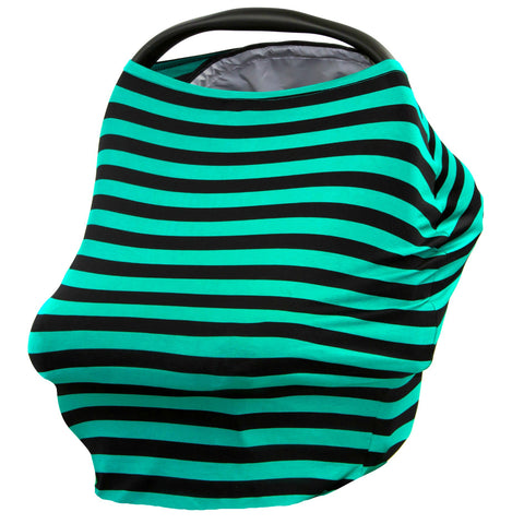 BLACK & TEAL STRIPE - Multi Use Baby Car Seat Canopy and Nursing Cover
