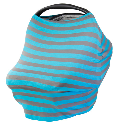 GRAY & TURQUIOSE STRIPE - Multi Use Baby Car Seat Canopy and Nursing Cover