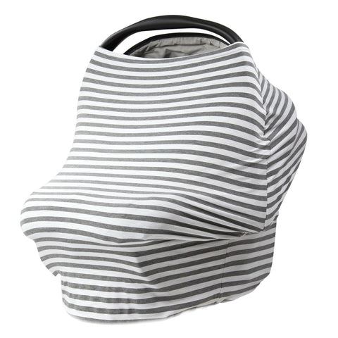 GRAY & WHITE THIN STRIPE - Multi Use Baby Car Seat Canopy and Nursing Cover
