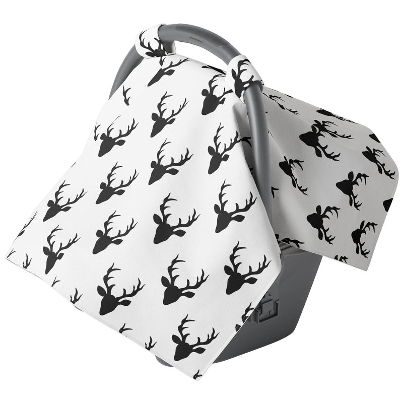 Black and White Buck Carseat Canopy