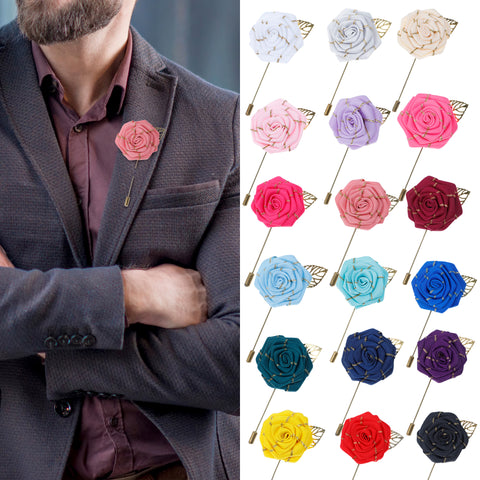 Lapel Flower Gold Leaf Pin Rose for Wedding Boutonniere Stick for Groom Suit (Set of 18 PINS)