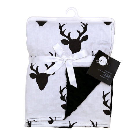 Stroller Blanket - White Black Buck