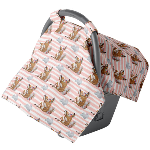 Canopy Car Seat Cover - Watercolor Stripes