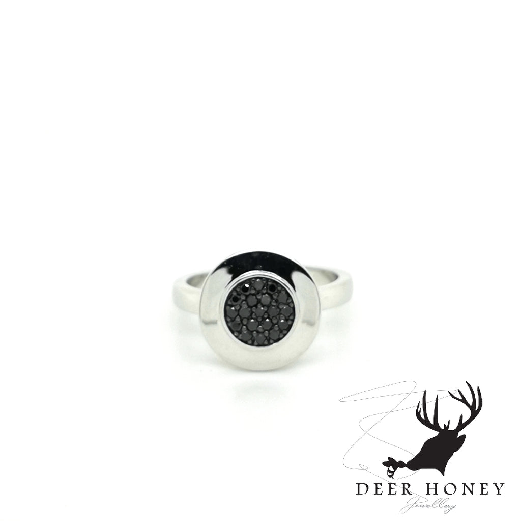 Pavé black diamond ring