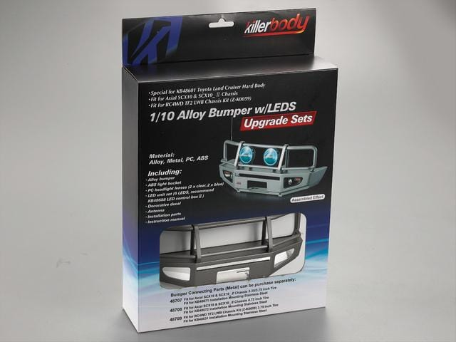 Alloy Bumper w/LEDS Upgrade Sets Silver-grey  Fit for 1/10 Truck and SUV( Only 1 in stock)