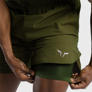 2-IN-1 Dry Tech Shorts - (Green)
