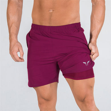 2-IN-1 Dry Tech Shorts - (Red)