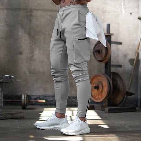 .Butz Side Pockets Statement Joggers - Light Grey