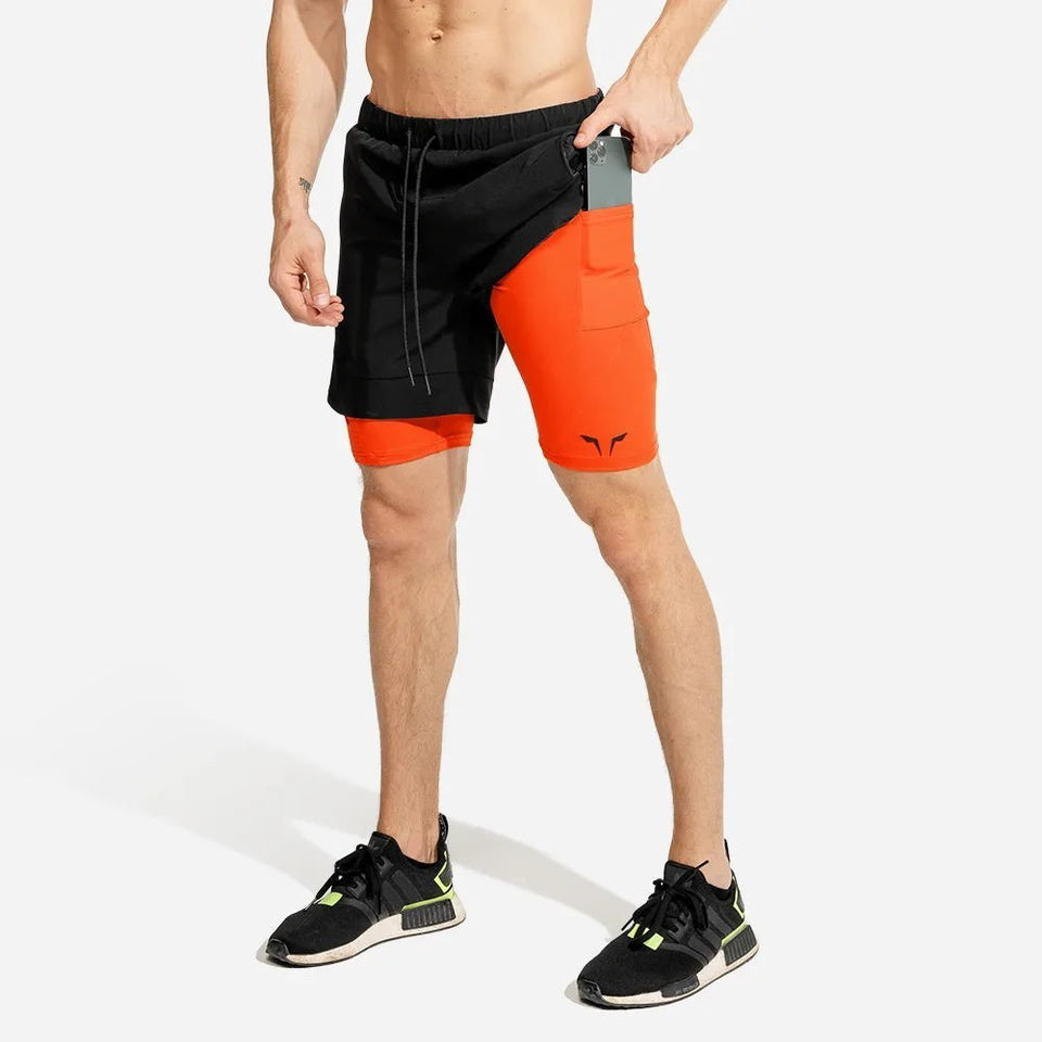 Ultimate 2-in-1 Shorts (Black/Orange)