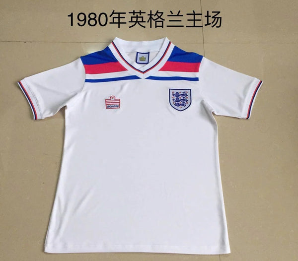 Retro 1980 England white soccer jersey size S-2XL
