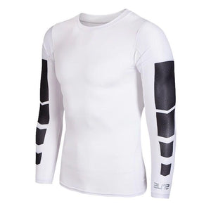 C - Elite I Pro Combat White Long Sleeve Top Compression Tights