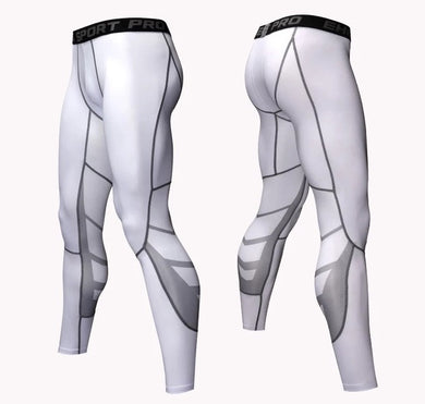 C - Elite I Pro Combat White Compression Long Bottom Compression Tights