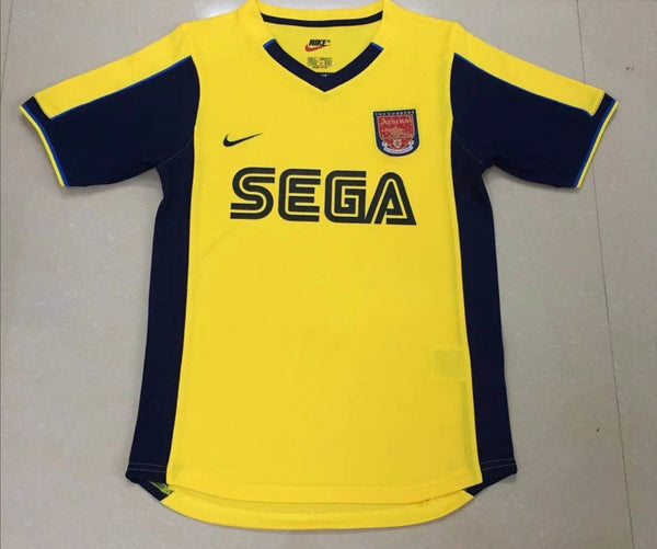 Retro 2000 Arsenal away yellow soccer jersey size S-2XL