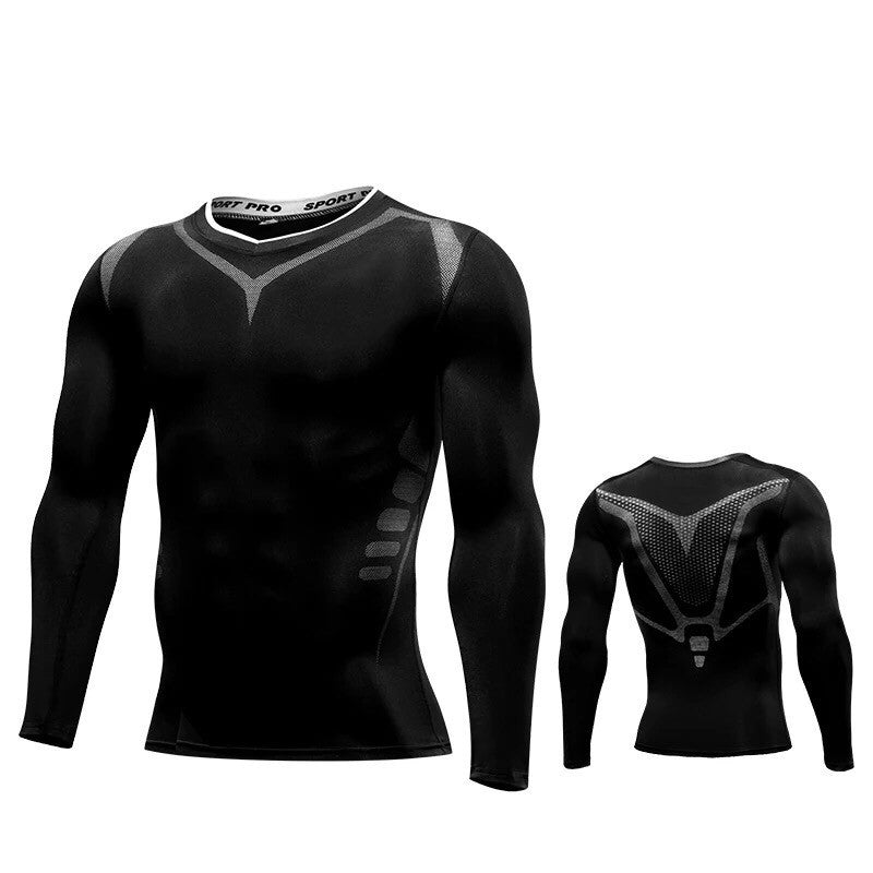 C - Elite II Pro Combat Black Long Sleeve Top Compression Tights