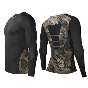 C - Elite I Army Camo Black Long Sleeve Top Compression Tights