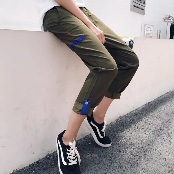Z - Korean Comfy Pants Camo Green